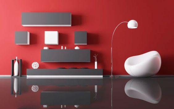 Combinaciones de color para salones pinturas lepanto - Decoracion blanco negro rojo ...